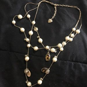Betsey Johnson pearl and cheetah necklace